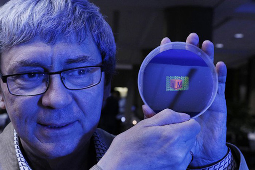 Prof. S. Zaitsev with a rainbow hologram
